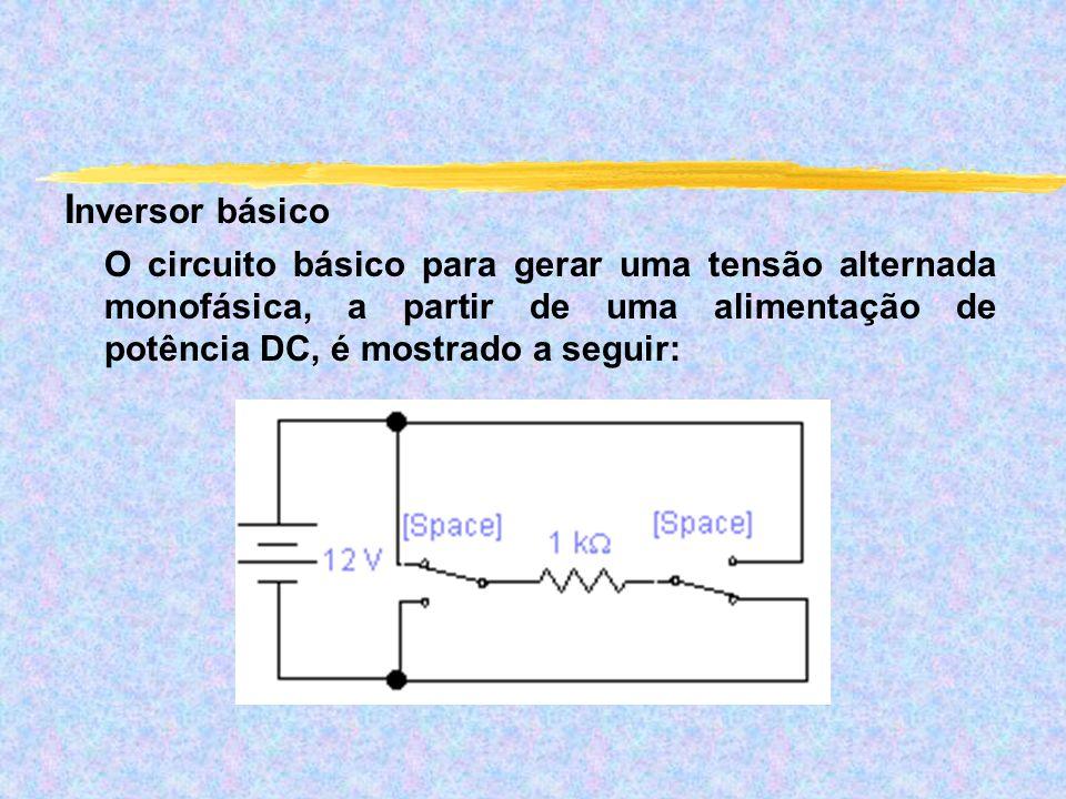 I nversor básico O circuito básico para gerar uma tensão alternada monofásica, a partir de uma alimentação de potência DC, é mostrado a seguir:
