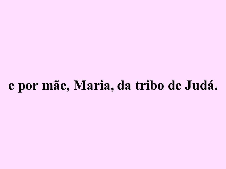 e por mãe, Maria, da tribo de Judá.