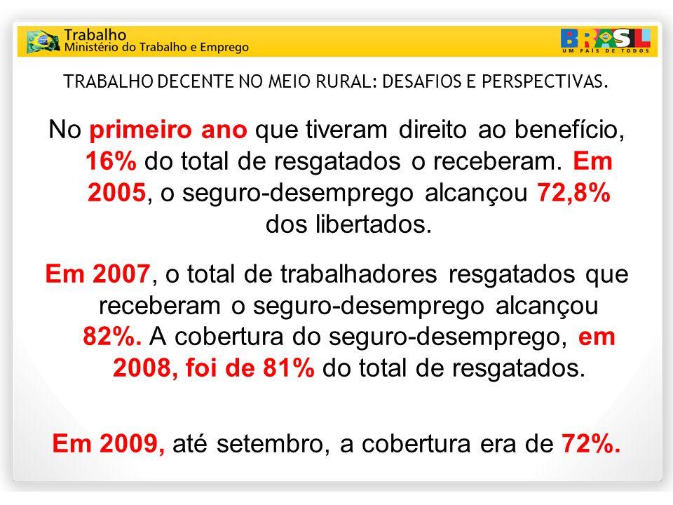 TRABALHO DECENTE NO MEIO RURAL: DESAFIOS E PERSPECTIVAS. No primeiro ano que tiveram direito ao benefício, 16% do total de resgatados o receberam. Em