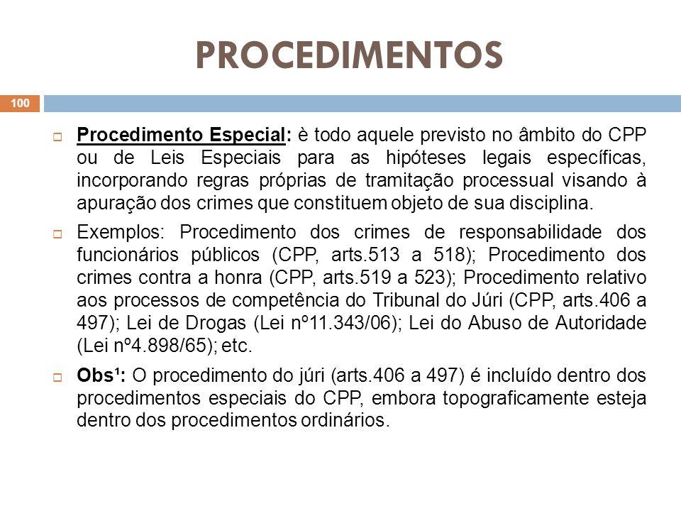 PROCEDIMENTOS Procedimento Especial: è todo aquele previsto no âmbito do CPP ou de Leis Especiais para as hipóteses legais específicas, incorporando r
