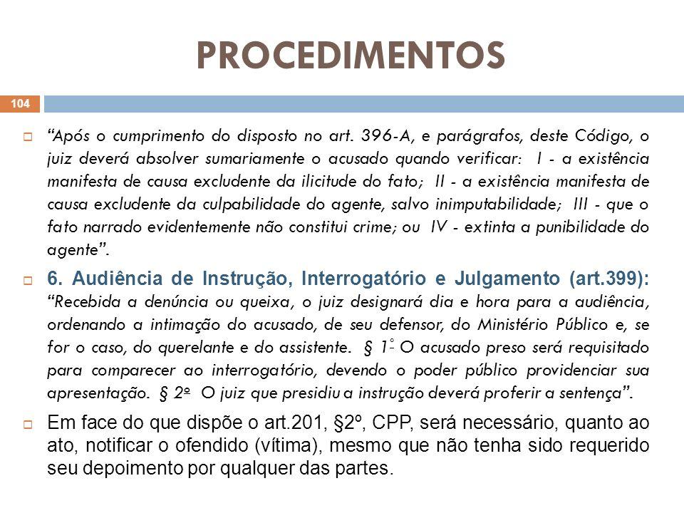 PROCEDIMENTOS Após o cumprimento do disposto no art. 396-A, e parágrafos, deste Código, o juiz deverá absolver sumariamente o acusado quando verificar