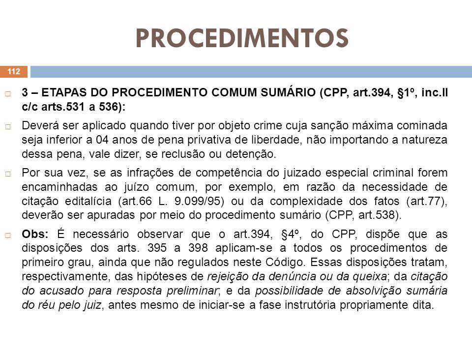 PROCEDIMENTOS 1.Inquérito Policial ou peças de informação.