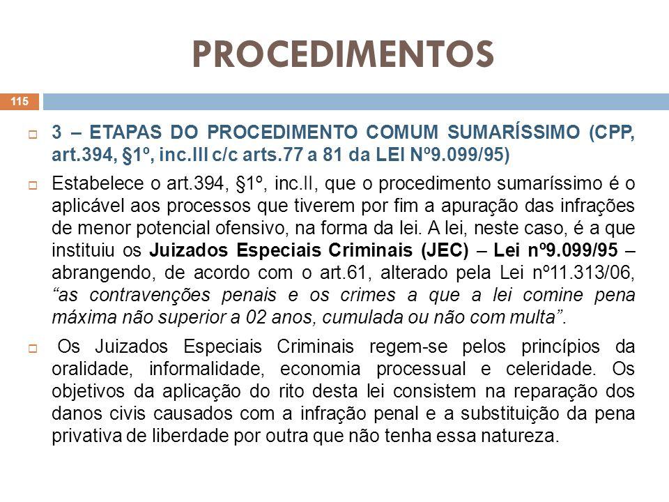 PROCEDIMENTOS 3 – ETAPAS DO PROCEDIMENTO COMUM SUMARÍSSIMO (CPP, art.394, §1º, inc.III c/c arts.77 a 81 da LEI Nº9.099/95) Estabelece o art.394, §1º,