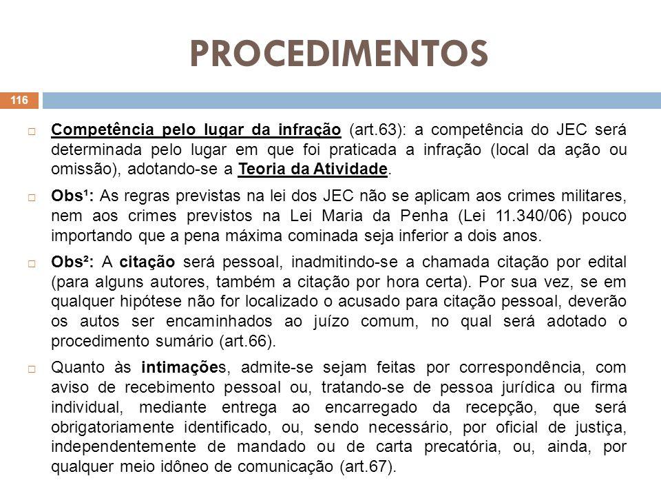 PROCEDIMENTOS Competência pelo lugar da infração (art.63): a competência do JEC será determinada pelo lugar em que foi praticada a infração (local da