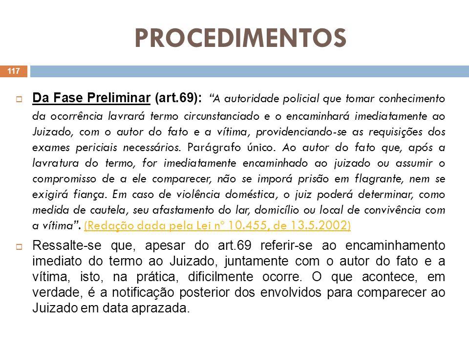 PROCEDIMENTOS Encaminhado, pois, o termo circunstanciado ao JEC, a próxima etapa do procedimento será a realização de audiência preliminar (art.70).
