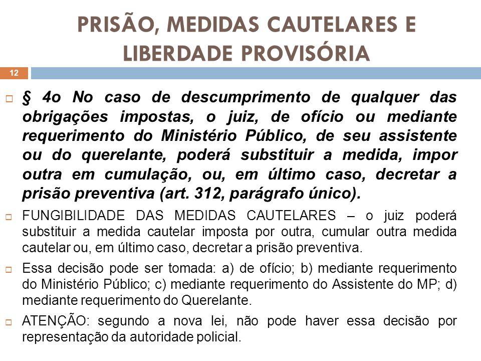 PRISÃO, MEDIDAS CAUTELARES E LIBERDADE PROVISÓRIA § 4o No caso de descumprimento de qualquer das obrigações impostas, o juiz, de ofício ou mediante re