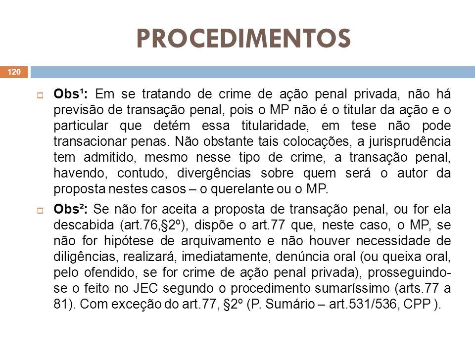 PROCEDIMENTOS Obs¹: Em se tratando de crime de ação penal privada, não há previsão de transação penal, pois o MP não é o titular da ação e o particula