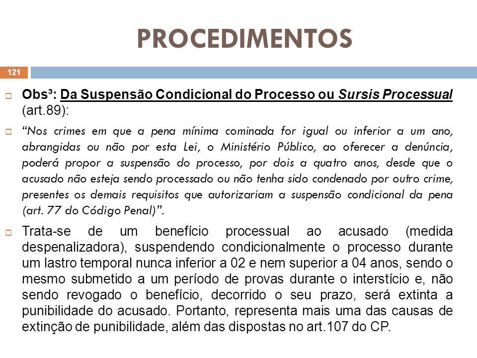 PROCEDIMENTOS Obs³: Da Suspensão Condicional do Processo ou Sursis Processual (art.89): Nos crimes em que a pena mínima cominada for igual ou inferior