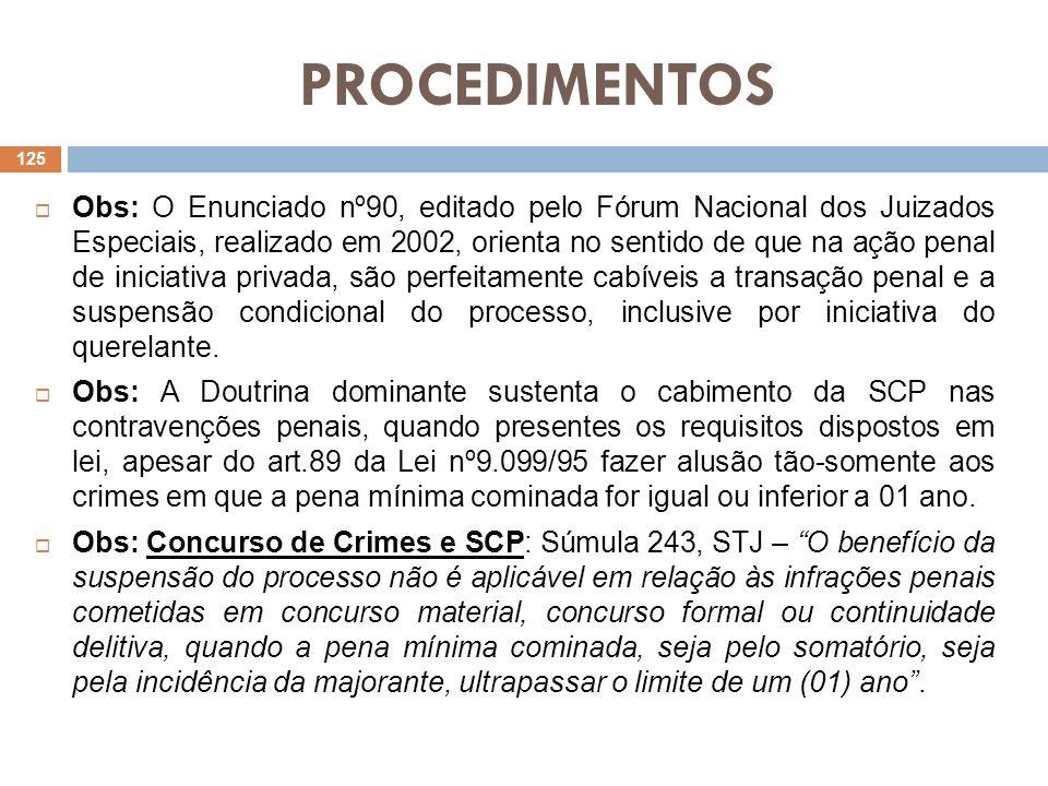 PROCEDIMENTOS Obs: O Enunciado nº90, editado pelo Fórum Nacional dos Juizados Especiais, realizado em 2002, orienta no sentido de que na ação penal de