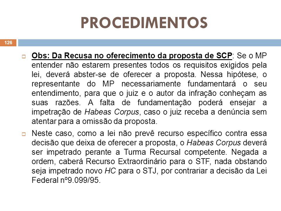 PROCEDIMENTOS Obs: Da Recusa no oferecimento da proposta de SCP: Se o MP entender não estarem presentes todos os requisitos exigidos pela lei, deverá