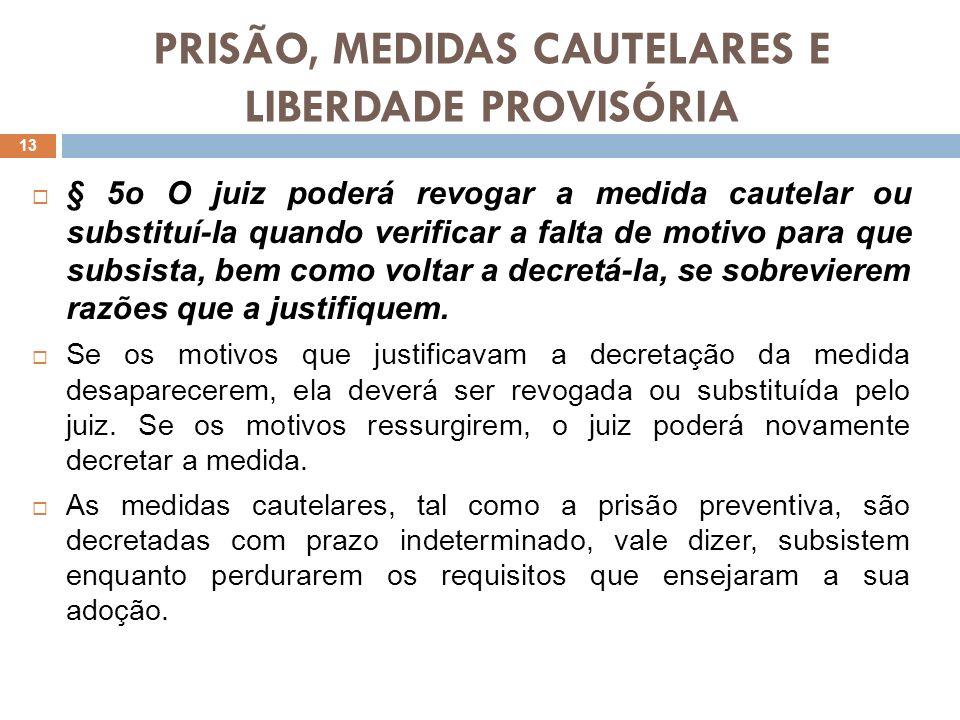 PRISÃO, MEDIDAS CAUTELARES E LIBERDADE PROVISÓRIA § 6o A prisão preventiva será determinada quando não for cabível a sua substituição por outra medida cautelar (art.