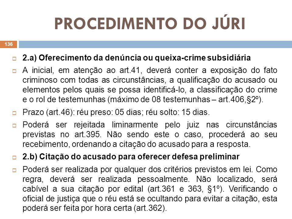PROCEDIMENTO DO JÚRI 2.a) Oferecimento da denúncia ou queixa-crime subsidiária A inicial, em atenção ao art.41, deverá conter a exposição do fato crim