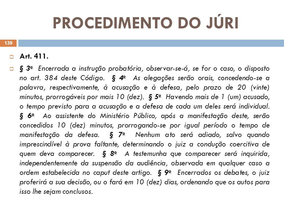 PROCEDIMENTO DO JÚRI Obs¹: Note-se que, ao contrário do que ocorre no procedimento ordinário (arts.403, §3º e art.404, p.u.), não se contempla, aqui, a possibilidade de serem os debates orais substituídos por memoriais escritos.