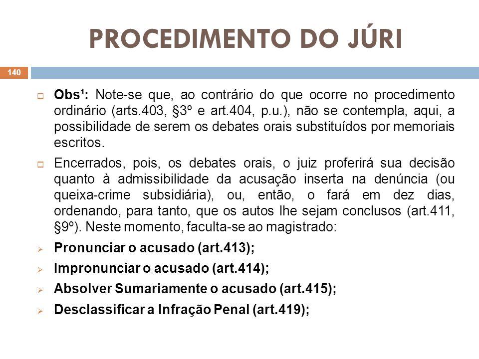 PROCEDIMENTO DO JÚRI Obs¹: Note-se que, ao contrário do que ocorre no procedimento ordinário (arts.403, §3º e art.404, p.u.), não se contempla, aqui,