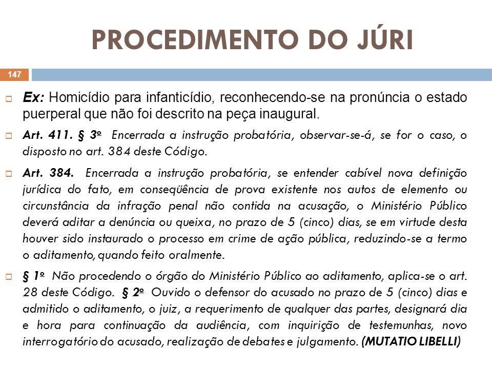 PROCEDIMENTO DO JÚRI Ex: Homicídio para infanticídio, reconhecendo-se na pronúncia o estado puerperal que não foi descrito na peça inaugural. Art. 411