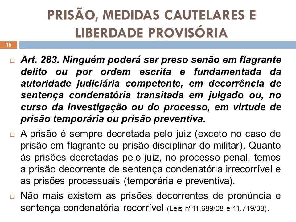 PRISÃO, MEDIDAS CAUTELARES E LIBERDADE PROVISÓRIA Art. 283. Ninguém poderá ser preso senão em flagrante delito ou por ordem escrita e fundamentada da