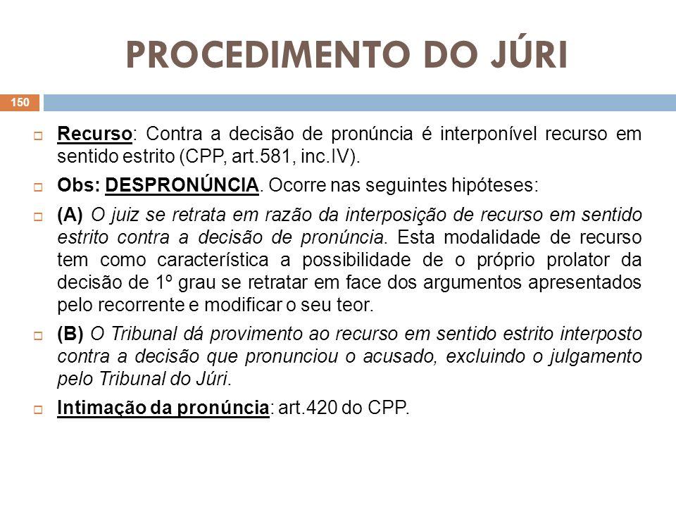 PROCEDIMENTO DO JÚRI Recurso: Contra a decisão de pronúncia é interponível recurso em sentido estrito (CPP, art.581, inc.IV). Obs: DESPRONÚNCIA. Ocorr