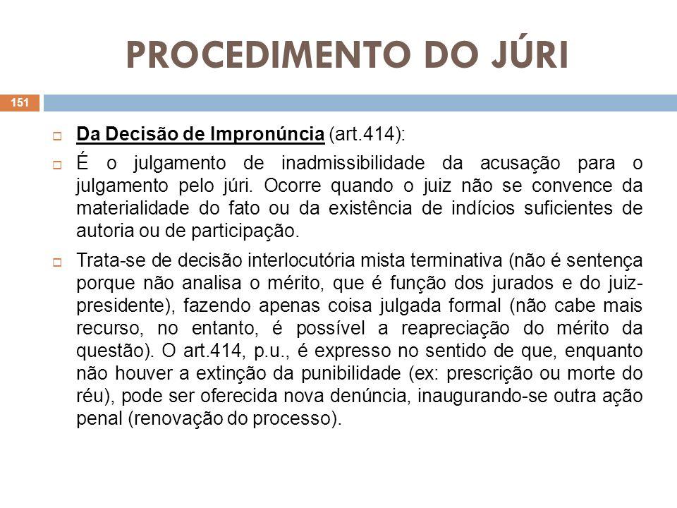 PROCEDIMENTO DO JÚRI Da Decisão de Impronúncia (art.414): É o julgamento de inadmissibilidade da acusação para o julgamento pelo júri. Ocorre quando o