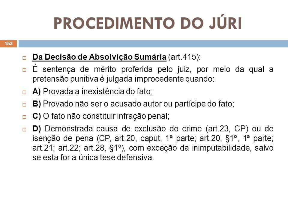 PROCEDIMENTO DO JÚRI Da Decisão de Absolvição Sumária (art.415): É sentença de mérito proferida pelo juiz, por meio da qual a pretensão punitiva é jul