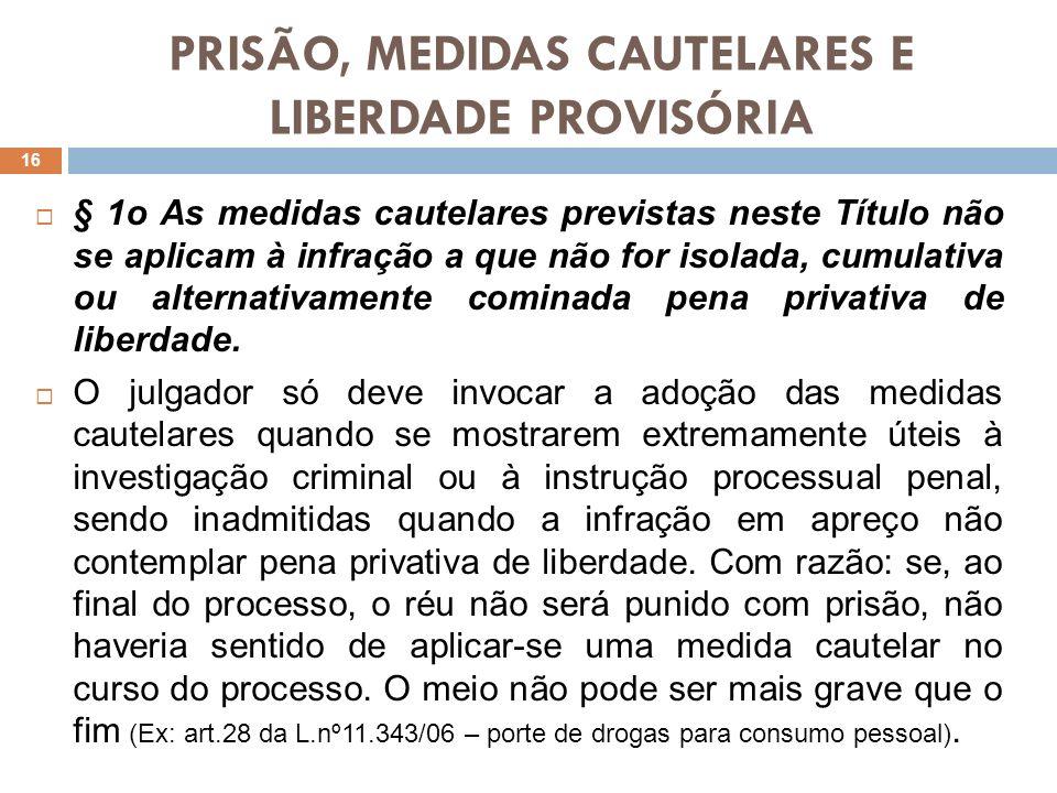 PRISÃO, MEDIDAS CAUTELARES E LIBERDADE PROVISÓRIA § 1o As medidas cautelares previstas neste Título não se aplicam à infração a que não for isolada, c