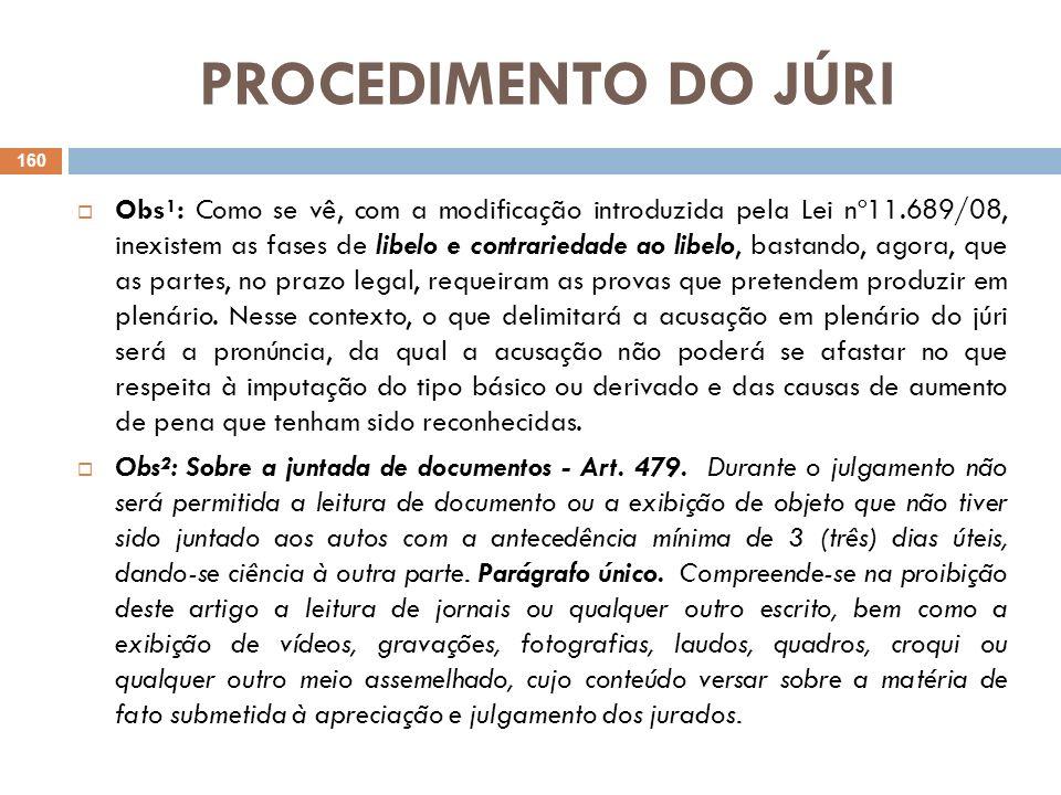 PROCEDIMENTO DO JÚRI Obs¹: Como se vê, com a modificação introduzida pela Lei nº11.689/08, inexistem as fases de libelo e contrariedade ao libelo, bas