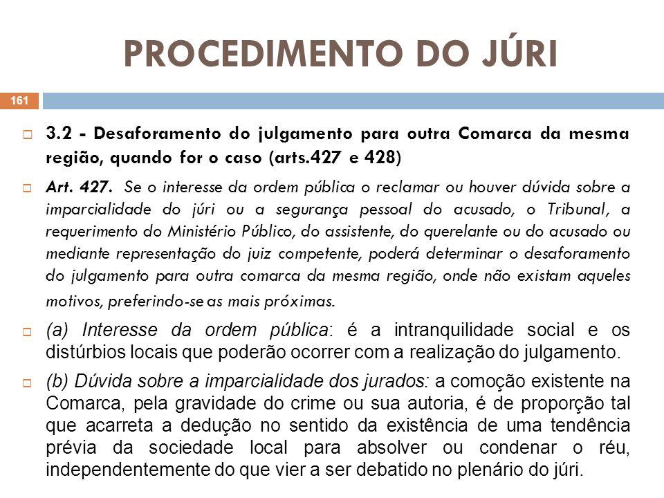 PROCEDIMENTO DO JÚRI 3.2 - Desaforamento do julgamento para outra Comarca da mesma região, quando for o caso (arts.427 e 428) Art. 427. Se o interesse