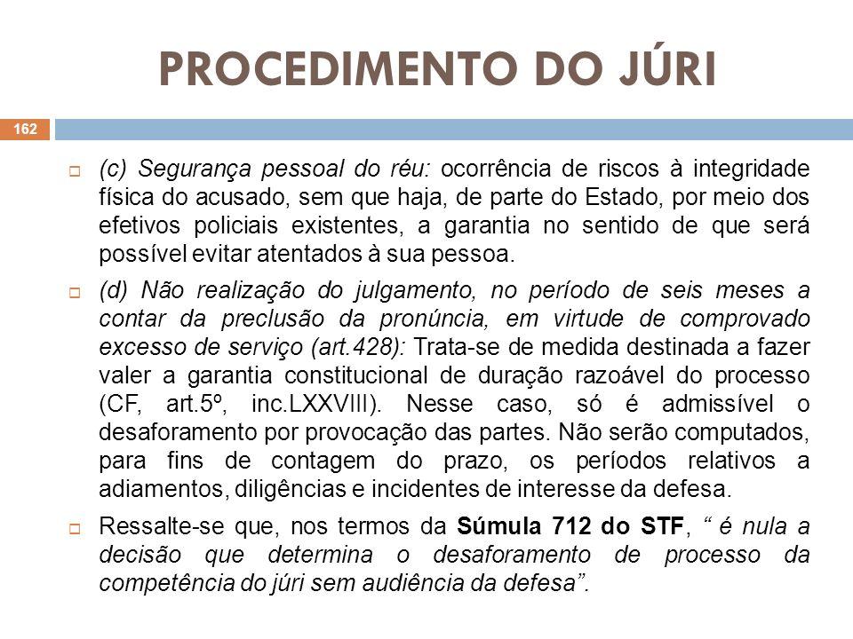 PROCEDIMENTO DO JÚRI (c) Segurança pessoal do réu: ocorrência de riscos à integridade física do acusado, sem que haja, de parte do Estado, por meio do