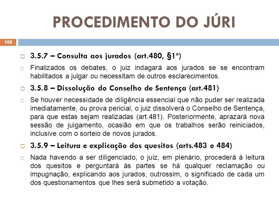 PROCEDIMENTO DO JÚRI 3.5.10 – Votação Não havendo dúvida a ser esclarecida, o juiz-presidente, os jurados, o MP, o assistente, o querelante, o defensor do acusado, o escrivão e o oficial de justiça dirigir-se-ão à sala especial a fim de ser procedida a votação dos quesitos pelos jurados (art.485), sendo, nessa oportunidade, as deliberações tomadas por maioria de votos (art.489).