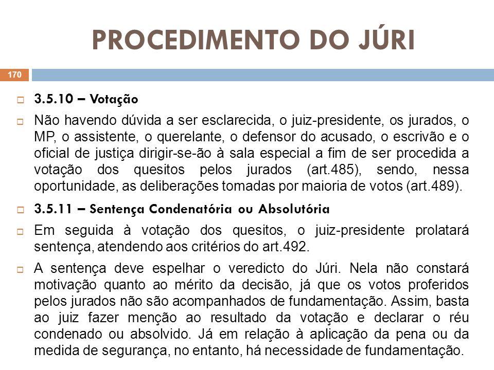 PROCEDIMENTO DO JÚRI 3.5.10 – Votação Não havendo dúvida a ser esclarecida, o juiz-presidente, os jurados, o MP, o assistente, o querelante, o defenso
