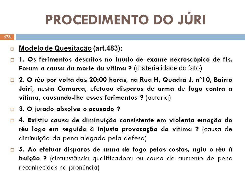 PROCEDIMENTO DO JÚRI Modelo de Quesitação (art.483): 1. Os ferimentos descritos no laudo de exame necroscópico de fls. Foram a causa da morte da vítim