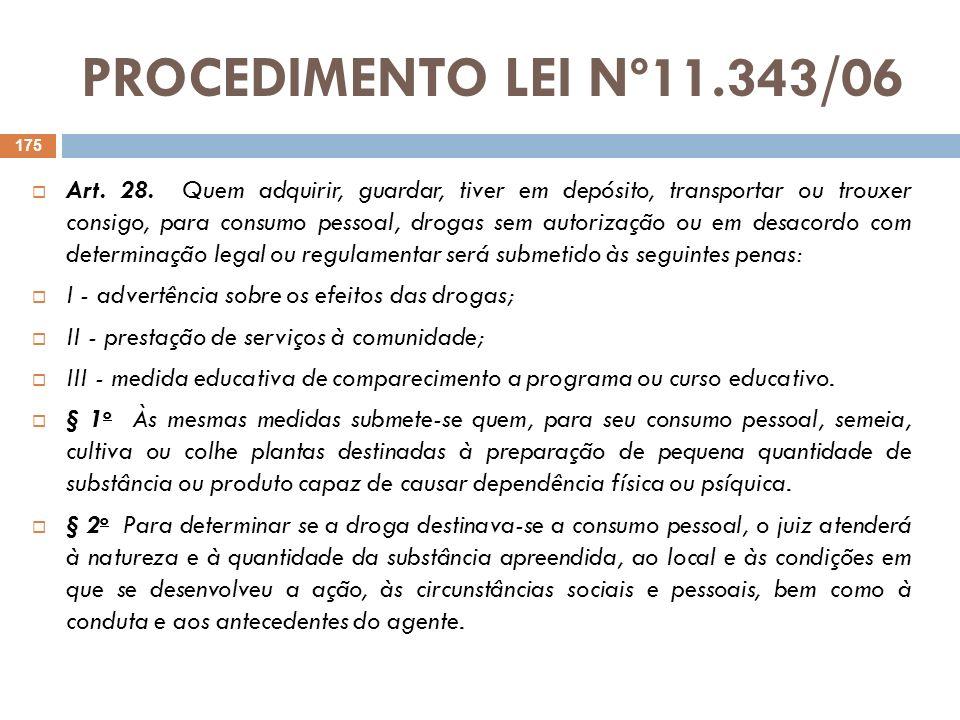 PROCEDIMENTO LEI Nº11.343/06 Art. 28. Quem adquirir, guardar, tiver em depósito, transportar ou trouxer consigo, para consumo pessoal, drogas sem auto