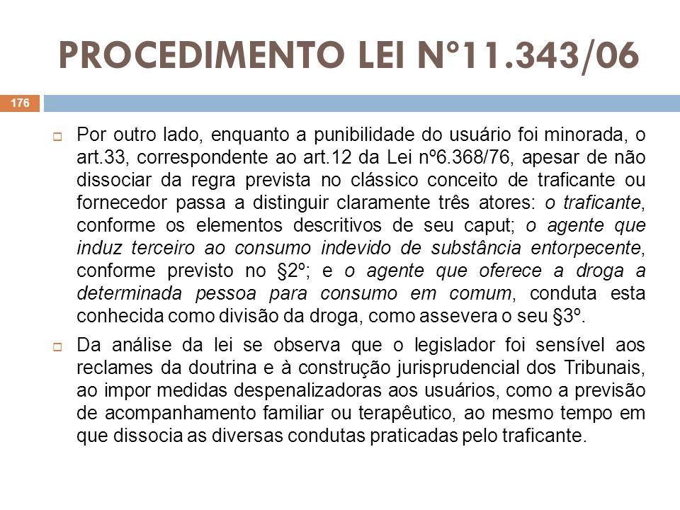 PROCEDIMENTO LEI Nº11.343/06 Por outro lado, enquanto a punibilidade do usuário foi minorada, o art.33, correspondente ao art.12 da Lei nº6.368/76, ap