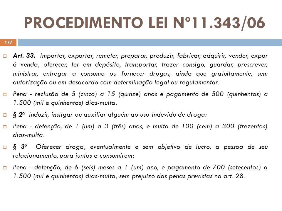 PROCEDIMENTO LEI Nº11.343/06 Art. 33. Importar, exportar, remeter, preparar, produzir, fabricar, adquirir, vender, expor à venda, oferecer, ter em dep
