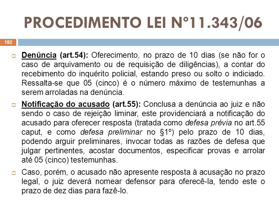 PROCEDIMENTO LEI Nº11.343/06 Decisão do juiz sobre a denúncia (art.55, §§ 4º e 5º): Apresentada a defesa, o juiz, em 05 dias, deverá decidir se rejeita a denúncia (CPP, art.395), ou, então, se a recebe.