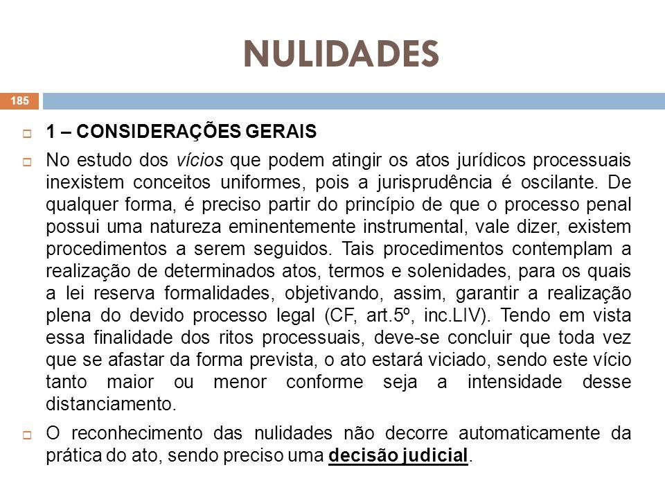 NULIDADES 1 – CONSIDERAÇÕES GERAIS No estudo dos vícios que podem atingir os atos jurídicos processuais inexistem conceitos uniformes, pois a jurispru