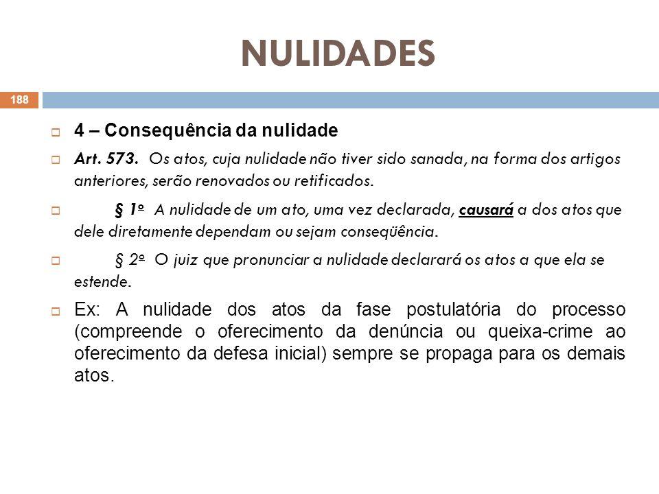 NULIDADES 4 – Consequência da nulidade Art. 573. Os atos, cuja nulidade não tiver sido sanada, na forma dos artigos anteriores, serão renovados ou ret