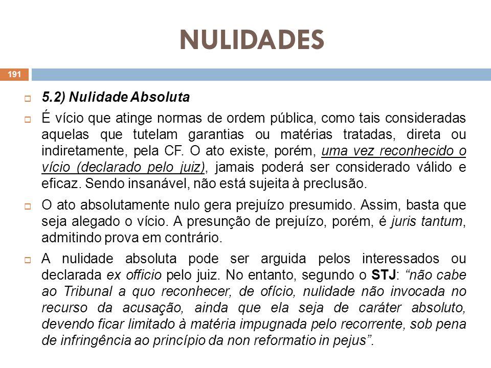 NULIDADES 5.2) Nulidade Absoluta É vício que atinge normas de ordem pública, como tais consideradas aquelas que tutelam garantias ou matérias tratadas