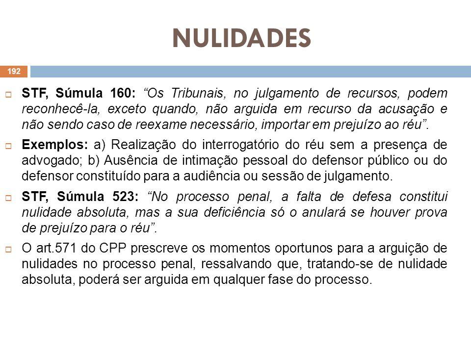 NULIDADES STF, Súmula 160: Os Tribunais, no julgamento de recursos, podem reconhecê-la, exceto quando, não arguida em recurso da acusação e não sendo