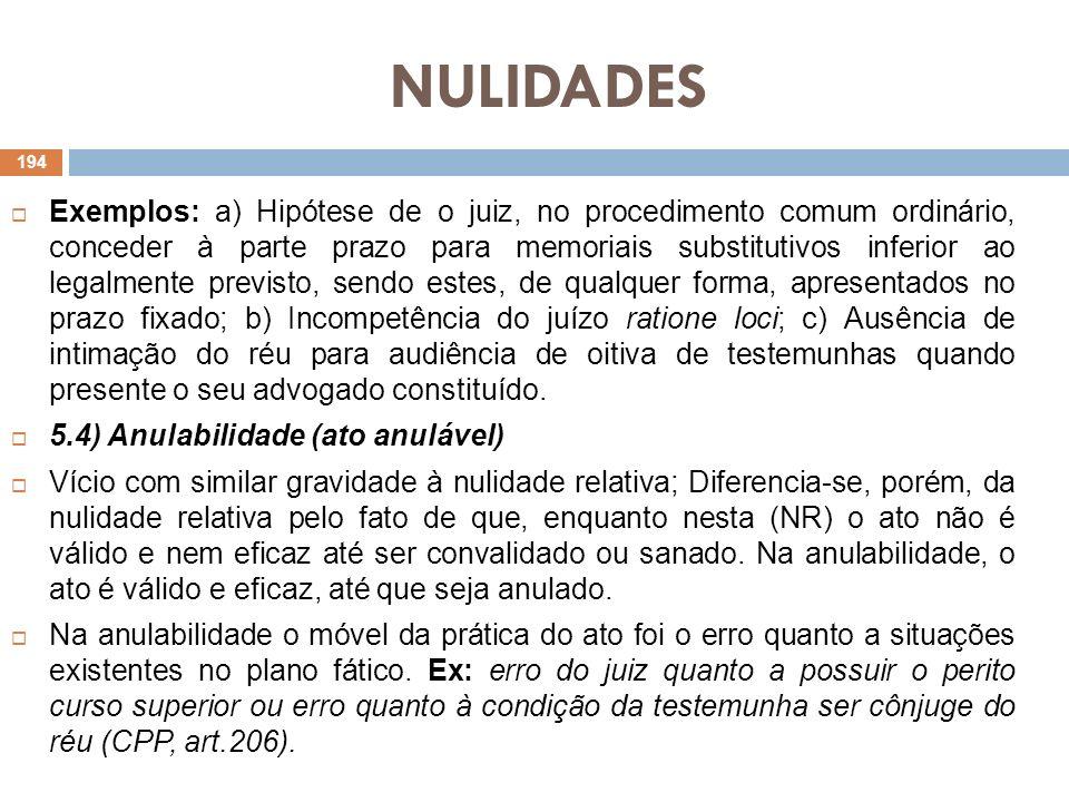 NULIDADES Exemplos: a) Hipótese de o juiz, no procedimento comum ordinário, conceder à parte prazo para memoriais substitutivos inferior ao legalmente
