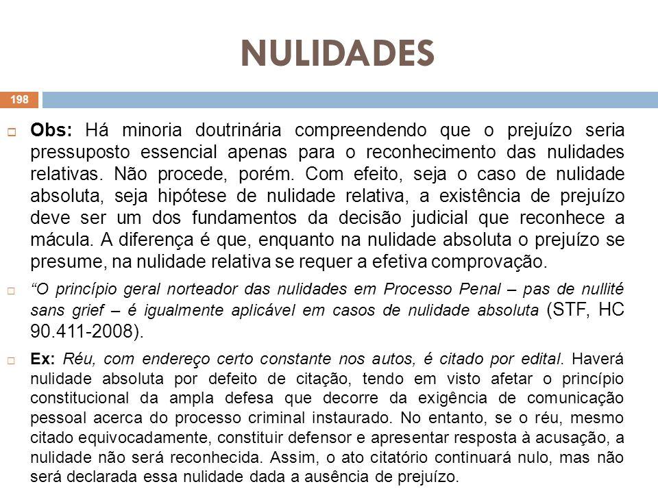 NULIDADES 6.3) Princípio do Interesse Segundo este princípio, proíbe-se a arguição de nulidade por quem a ela deu causa ou concorreu para a mesma (CPP, art.565).