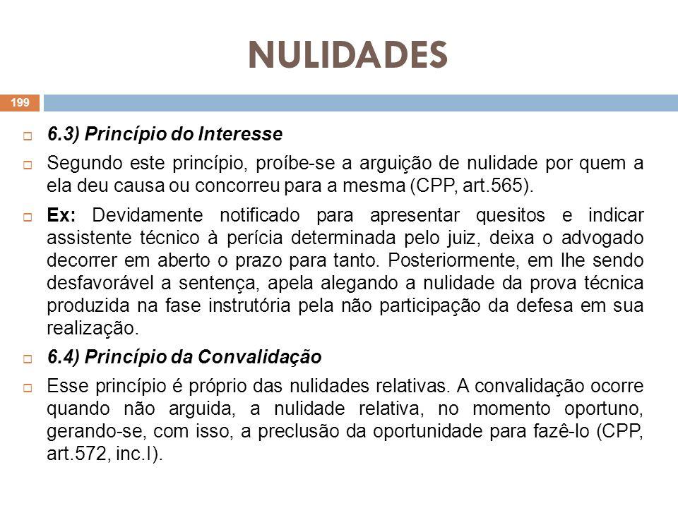 NULIDADES 6.3) Princípio do Interesse Segundo este princípio, proíbe-se a arguição de nulidade por quem a ela deu causa ou concorreu para a mesma (CPP