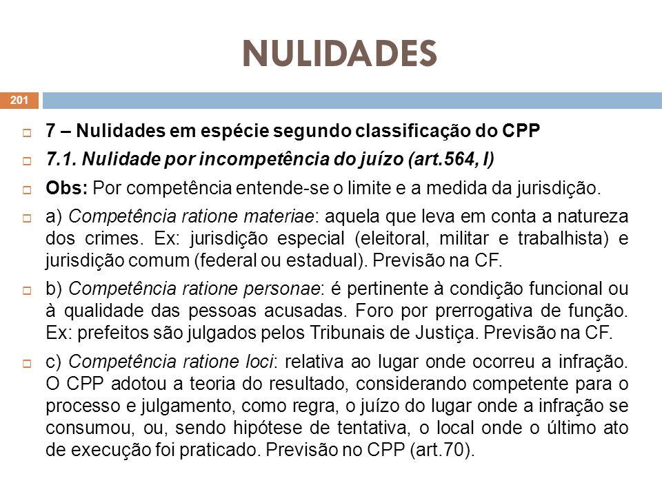 NULIDADES 7 – Nulidades em espécie segundo classificação do CPP 7.1. Nulidade por incompetência do juízo (art.564, I) Obs: Por competência entende-se