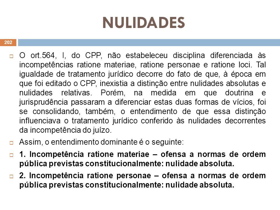 NULIDADES O ort.564, I, do CPP, não estabeleceu disciplina diferenciada às incompetências ratione materiae, ratione personae e ratione loci. Tal igual