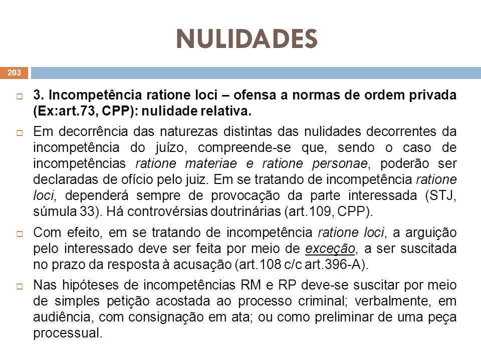 NULIDADES 3. Incompetência ratione loci – ofensa a normas de ordem privada (Ex:art.73, CPP): nulidade relativa. Em decorrência das naturezas distintas