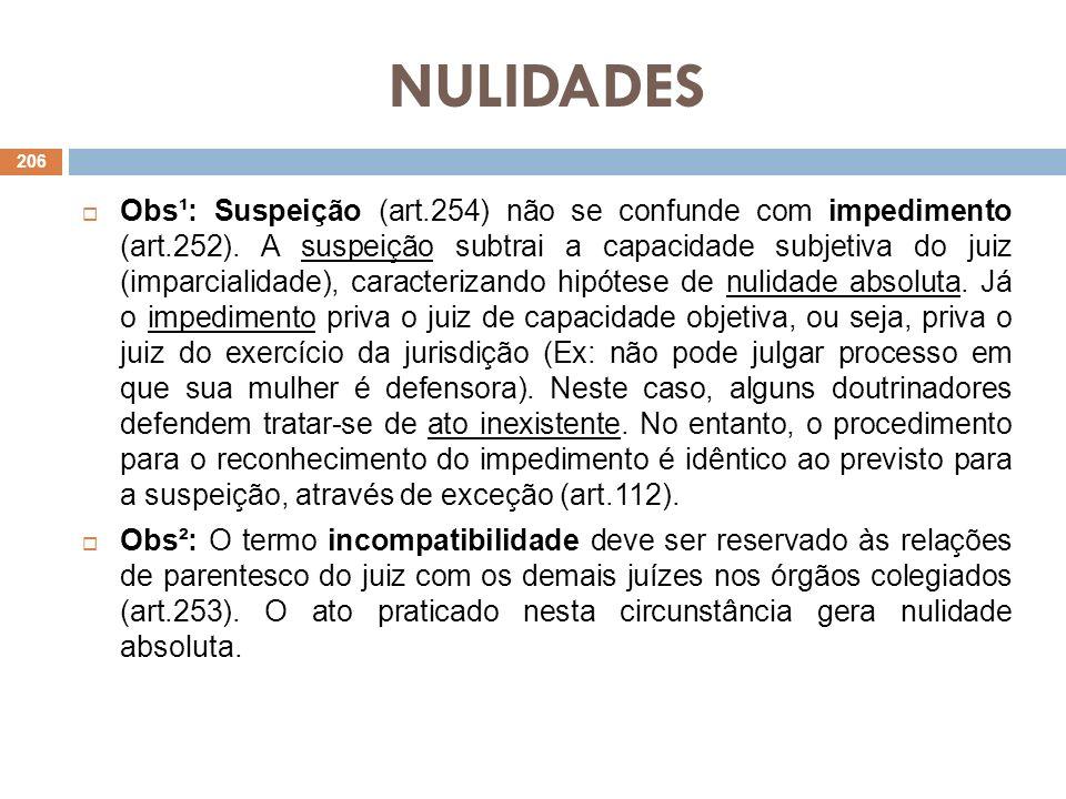 NULIDADES Obs¹: Suspeição (art.254) não se confunde com impedimento (art.252). A suspeição subtrai a capacidade subjetiva do juiz (imparcialidade), ca