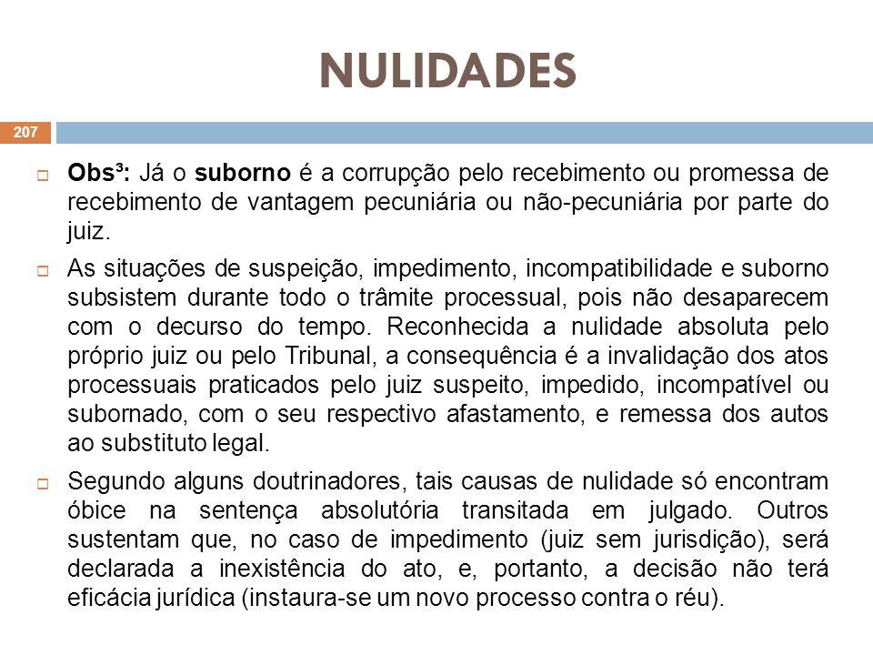 NULIDADES Obs³: Já o suborno é a corrupção pelo recebimento ou promessa de recebimento de vantagem pecuniária ou não-pecuniária por parte do juiz. As