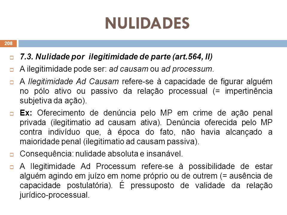 NULIDADES 7.3. Nulidade por ilegitimidade de parte (art.564, II) A ilegitimidade pode ser: ad causam ou ad processum. A Ilegitimidade Ad Causam refere