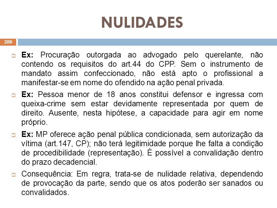 NULIDADES Ex: Procuração outorgada ao advogado pelo querelante, não contendo os requisitos do art.44 do CPP. Sem o instrumento de mandato assim confec