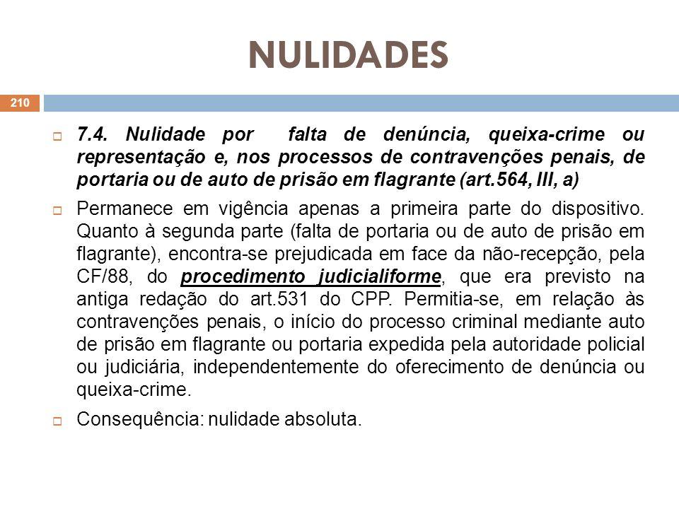NULIDADES 7.4. Nulidade por falta de denúncia, queixa-crime ou representação e, nos processos de contravenções penais, de portaria ou de auto de prisã