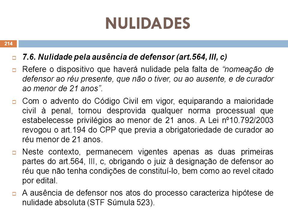 NULIDADES 7.6. Nulidade pela ausência de defensor (art.564, III, c) Refere o dispositivo que haverá nulidade pela falta de nomeação de defensor ao réu